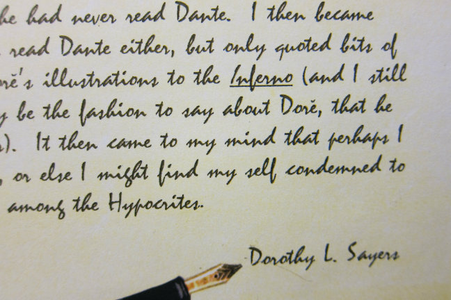 a letter written by Dorothy L. Sayers